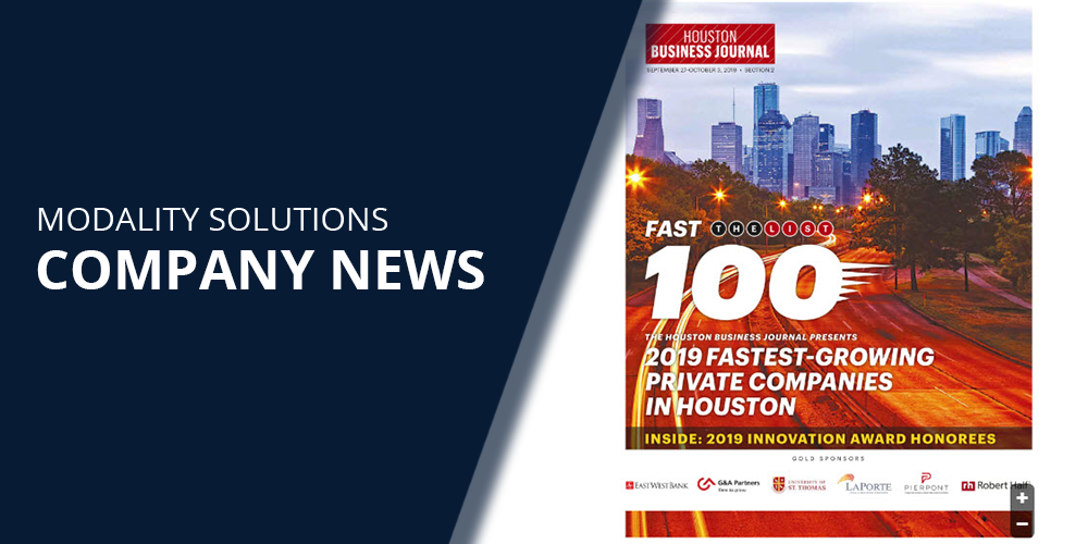 Modality Solutions Makes Houston Business Journal's Fast 100 List